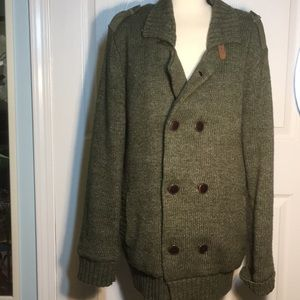 UGG green  wool blend double breasted sweater
